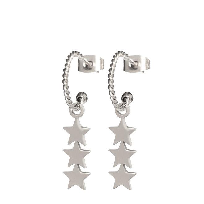 Oorringen twisted 3 stars zilver