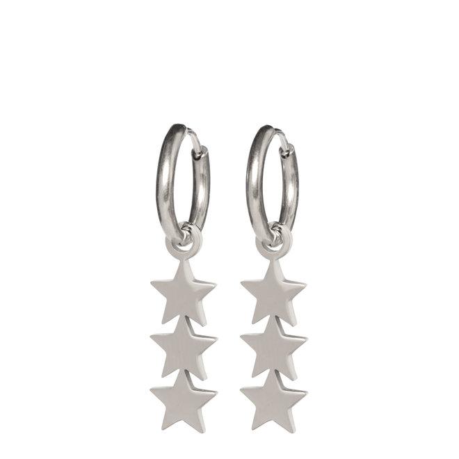 Oorringen 3 stars zilver