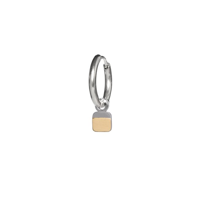 Oorring stripe square zilver