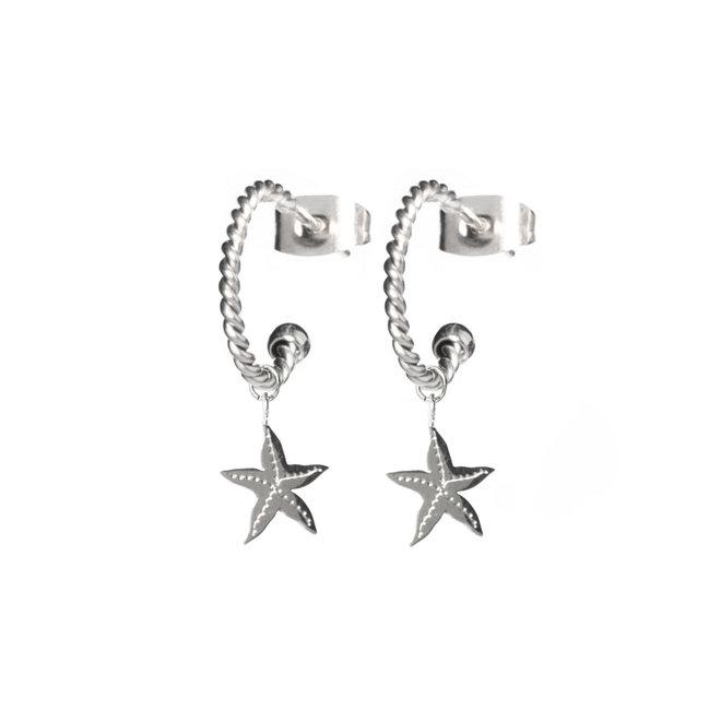 Oorringen twisted starfish zilver