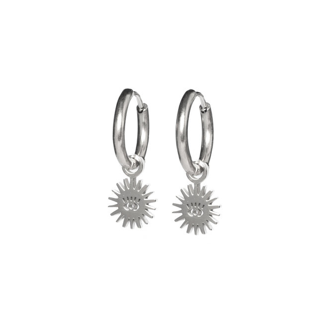 Oorringen sun eye zilver