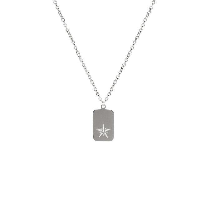 Ketting charm star lang zilver