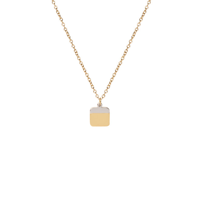 Ketting stripe square kort goud