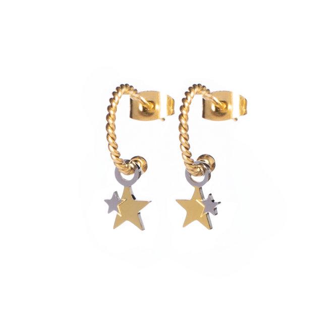 Oorringen twisted stars goud