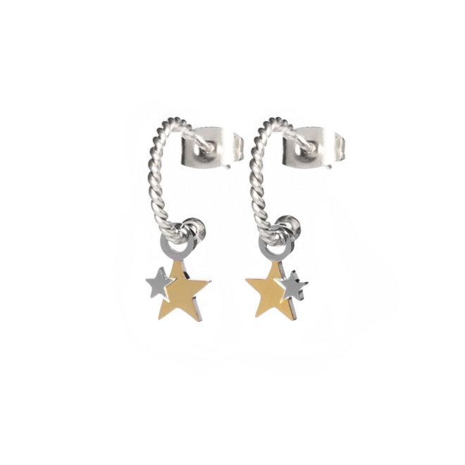 Oorringen twisted stars zilver