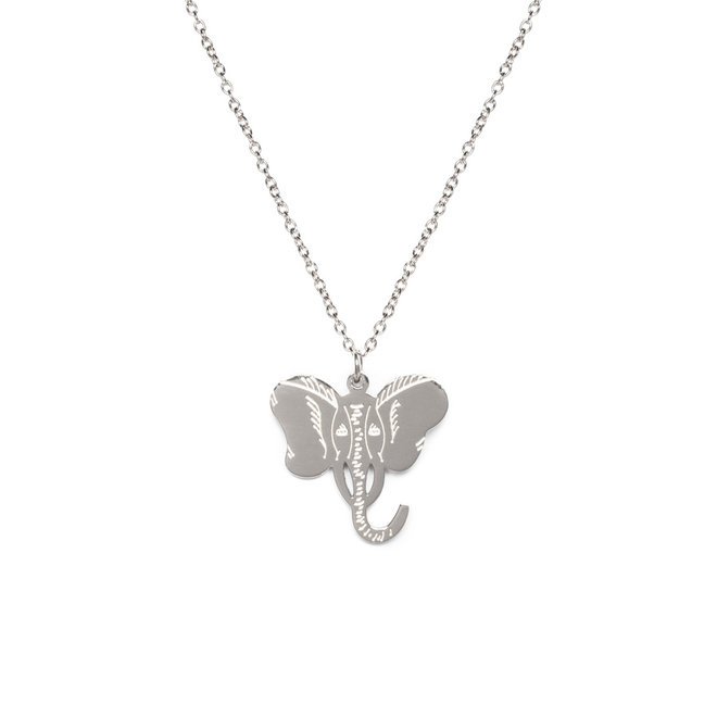 Ketting elephant lang zilver