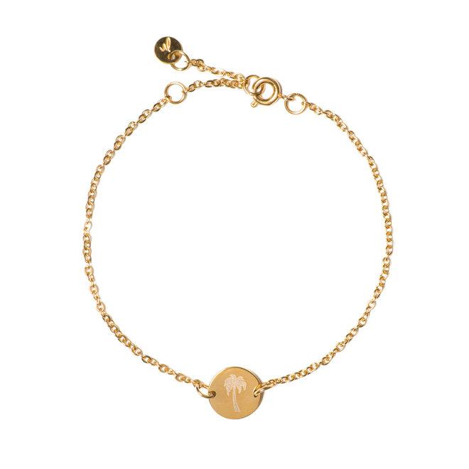 Armband chain coin palmtree goud