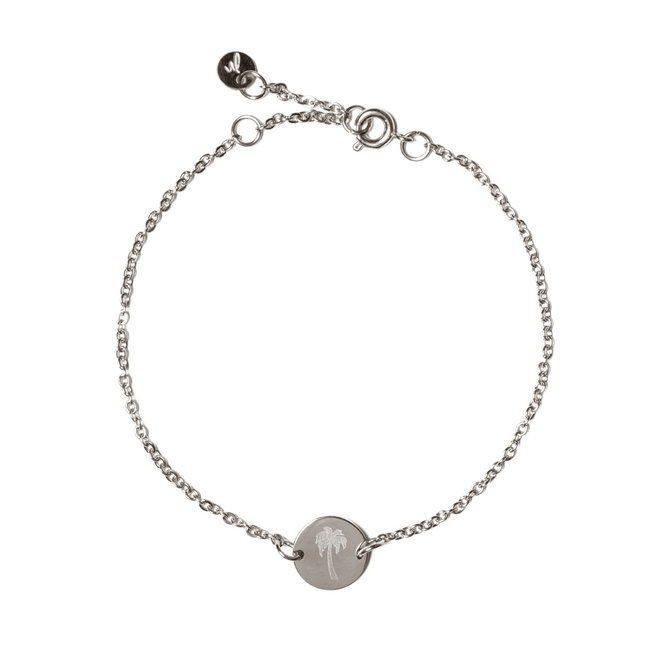 Armband chain coin palmtree zilver
