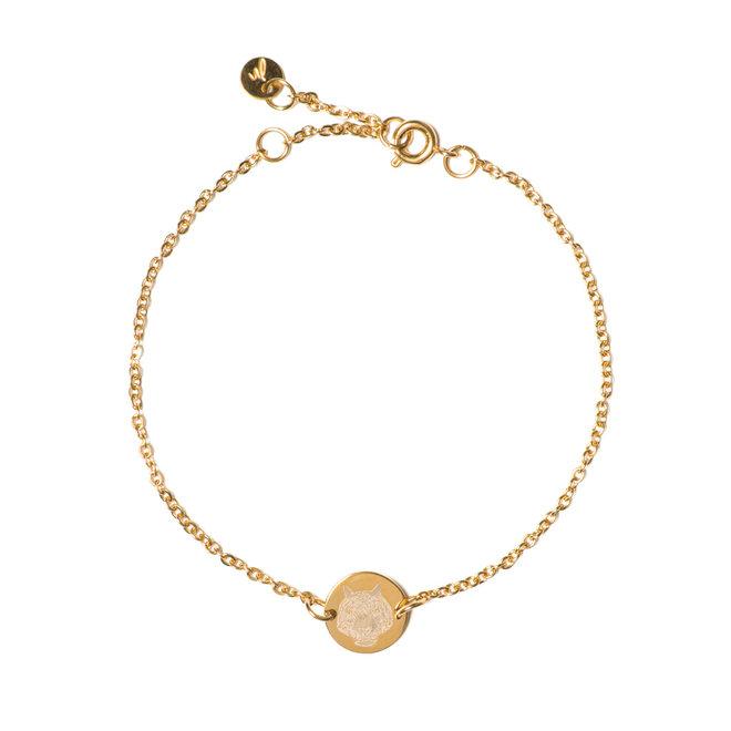 Armband chain coin tiger goud