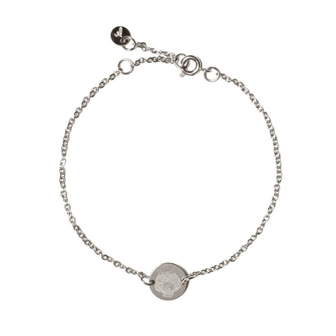 Armband chain coin tiger zilver