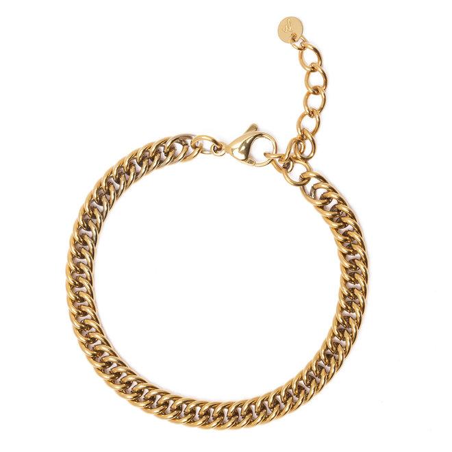Armband chain curb goud