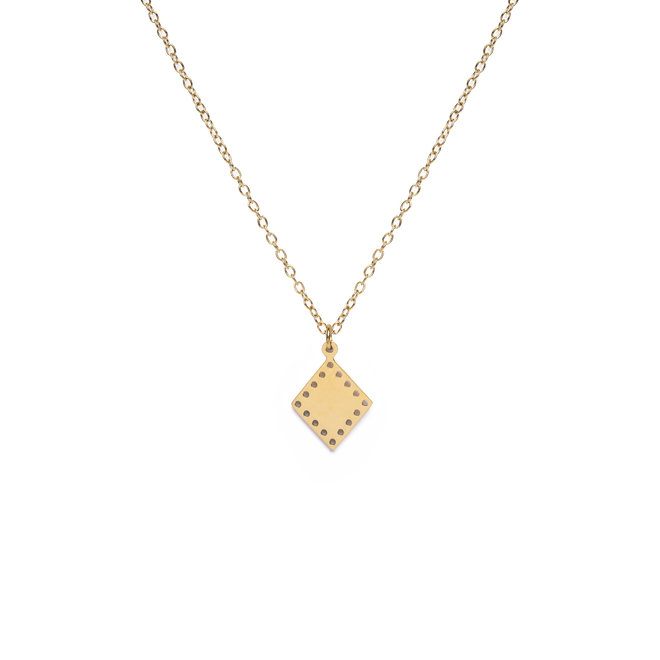Ketting triangle dots lang goud