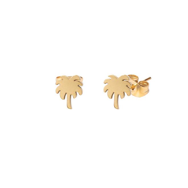 Oorknopjes palmtree goud