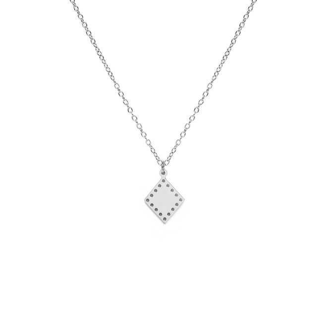 Ketting triangle dots lang zilver