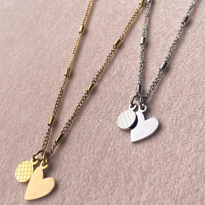 Ketting heart coin kort goud