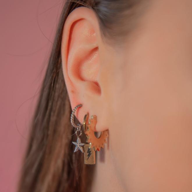 Oorringen starfish zilver