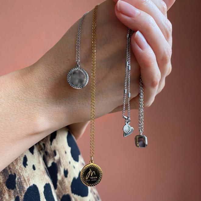 Ketting heart coin kort zilver
