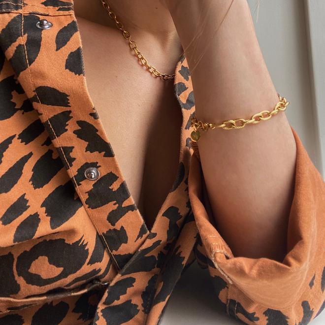Set chain big luxe ketting+ armband goud