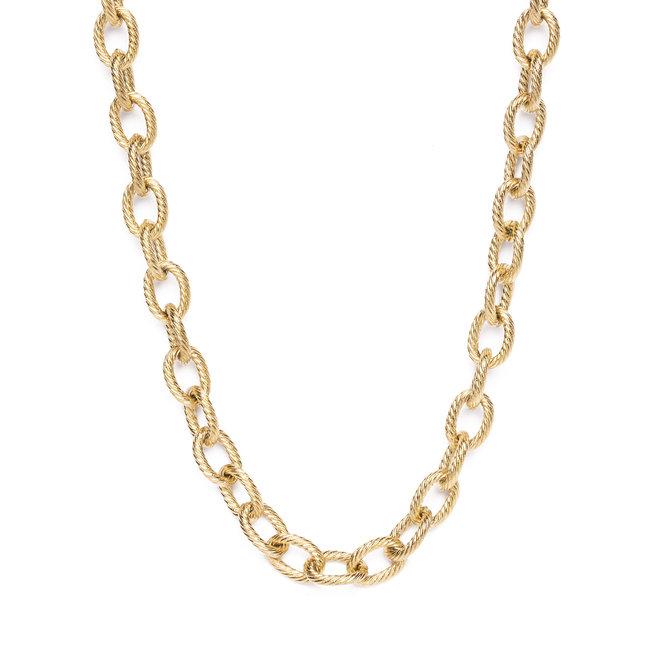 Set chain big luxe ketting+armband goud