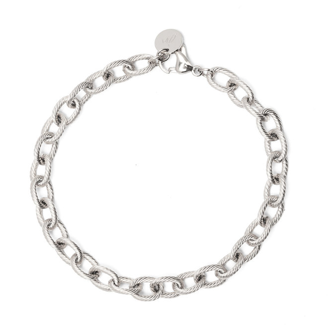 Set chain big luxe ketting+armband zilver