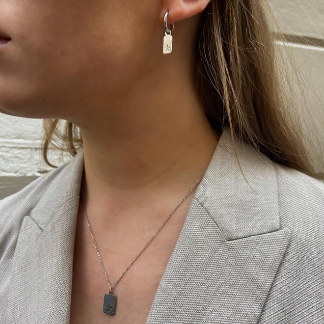 Set charm star ketting+oorringen zilver