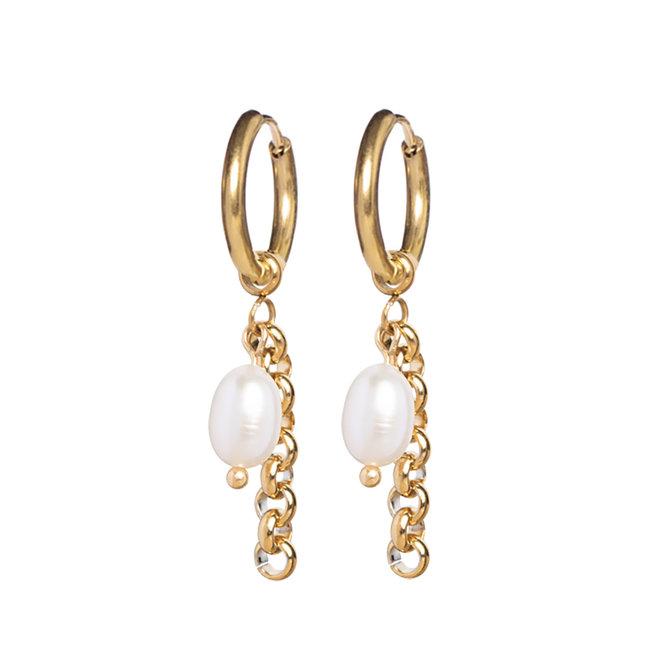 Oorringen pearl jasseron goud