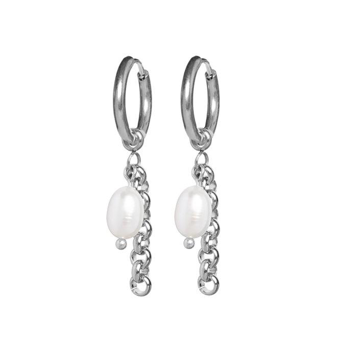 Oorringen pearl jasseron zilver