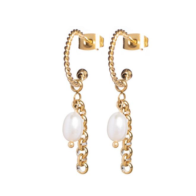 Oorringen twisted pearl jasseron goud