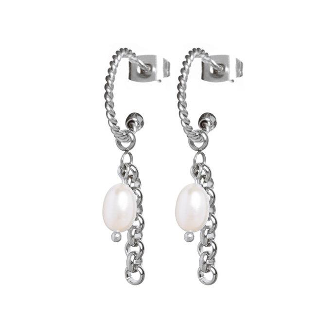 Oorringen twisted pearl jasseron zilver