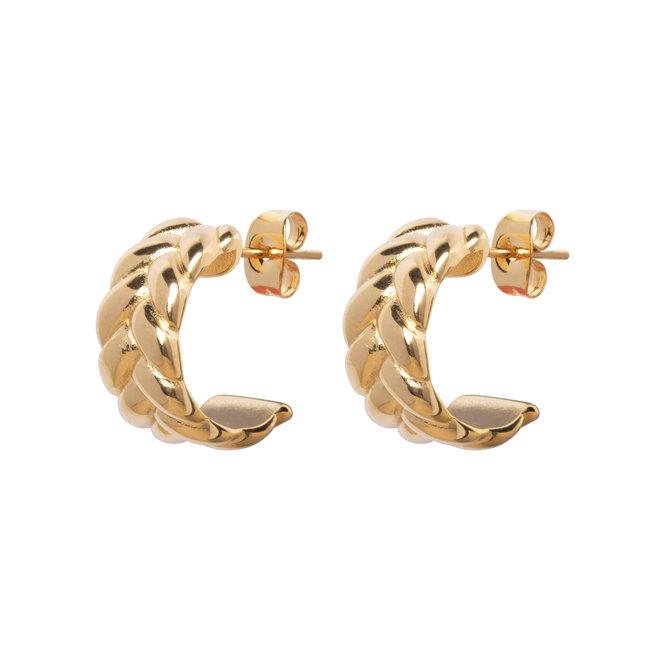 Oorringen double chain goud