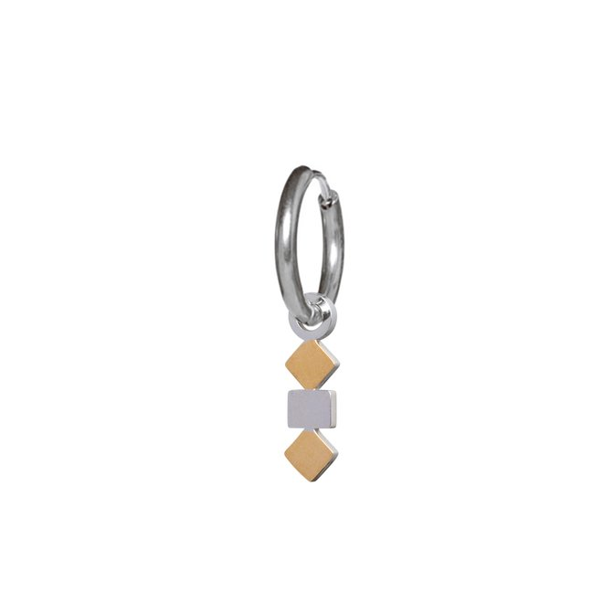 Oorring 3 squares duotone zilver