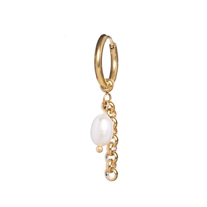 Oorring pearl jasseron goud
