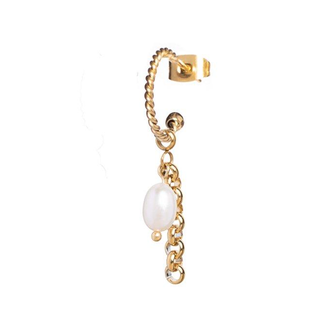 Oorring twisted pearl jasseron goud