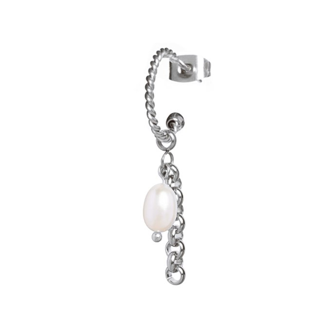 Oorring twisted pearl jasseron zilver