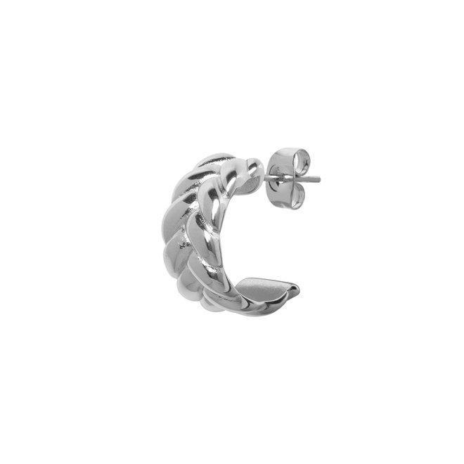 Oorring double chain zilver