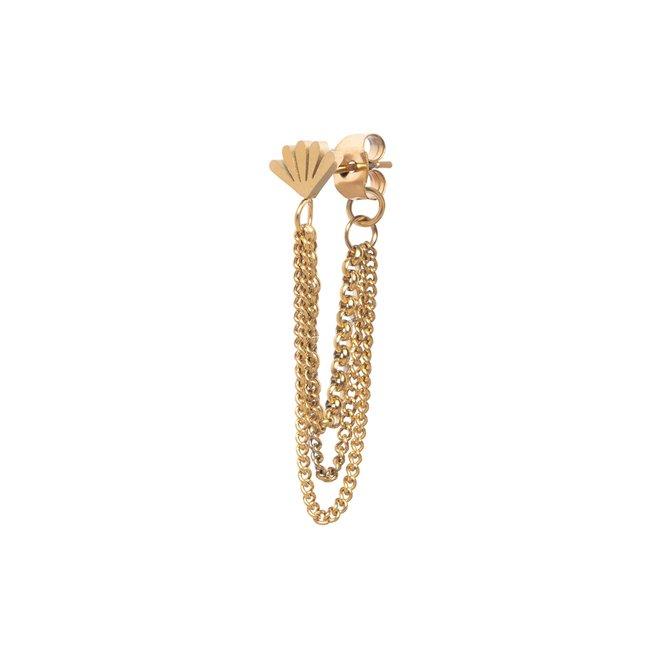 Oorknopje 3 chains goud