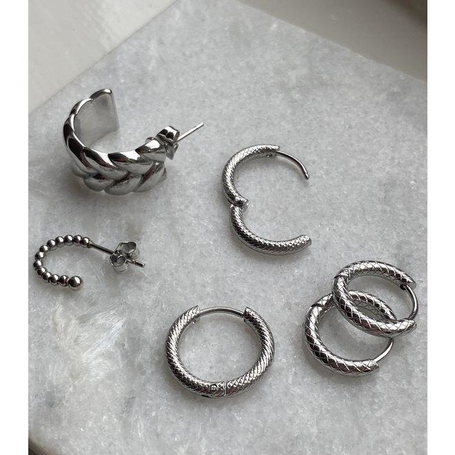 Oorringen double chain zilver