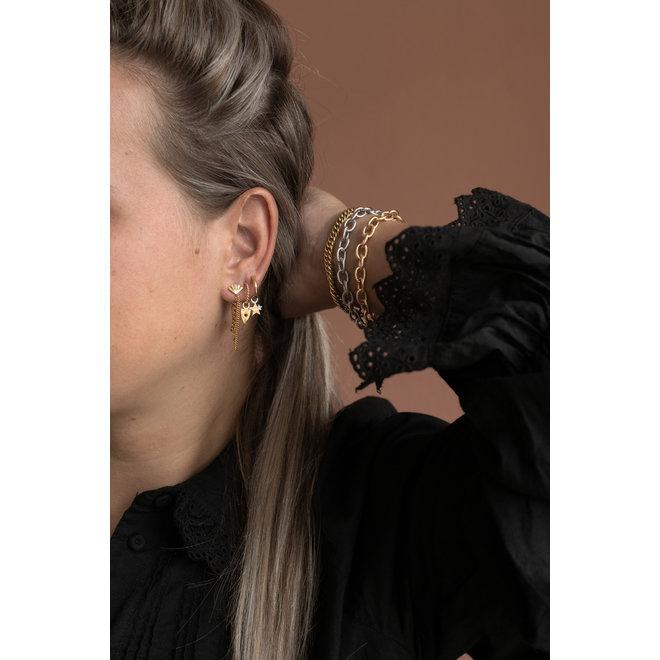 Oorringen twisted black beauty goud