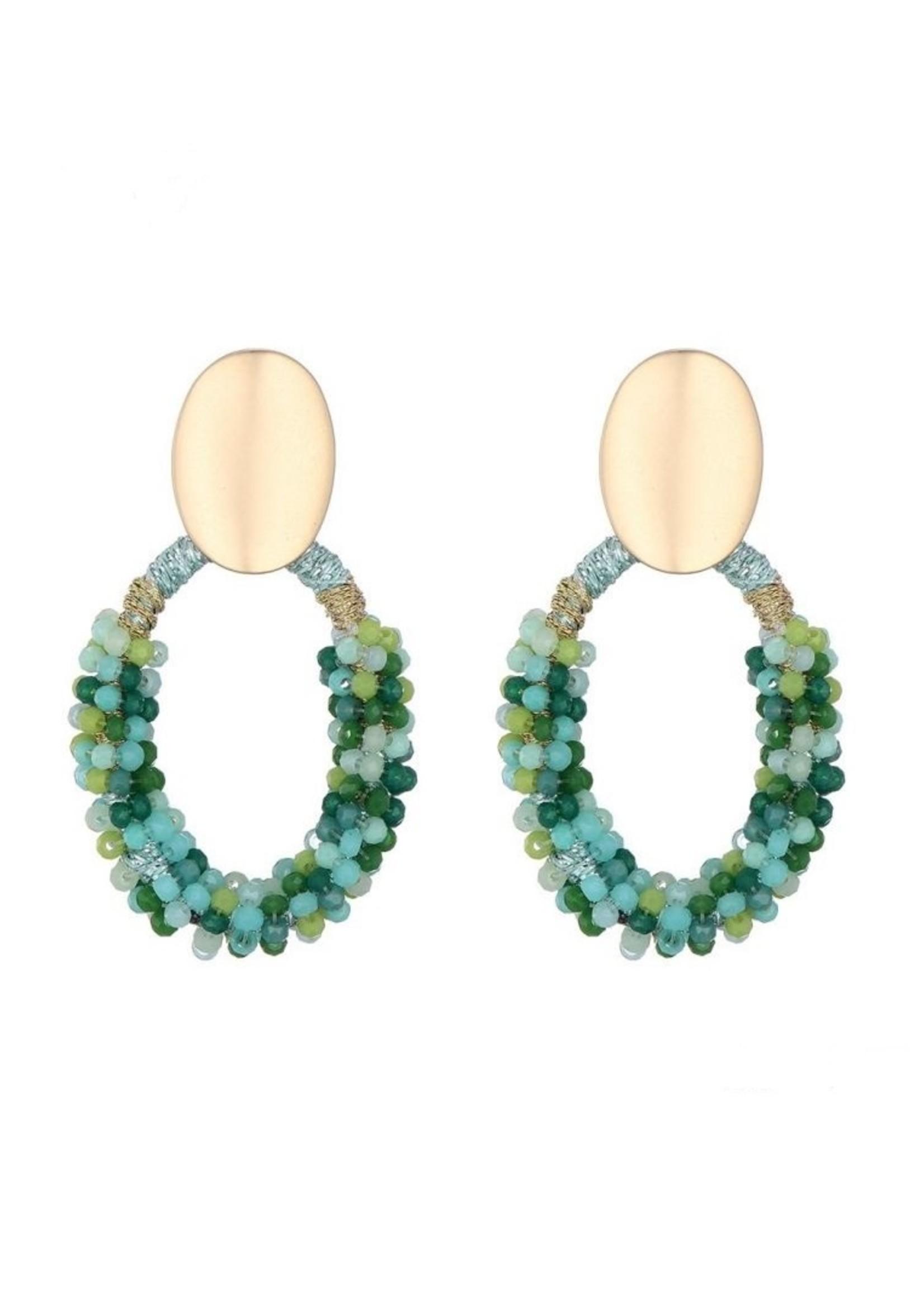 Oorbellen Green Beads Drop