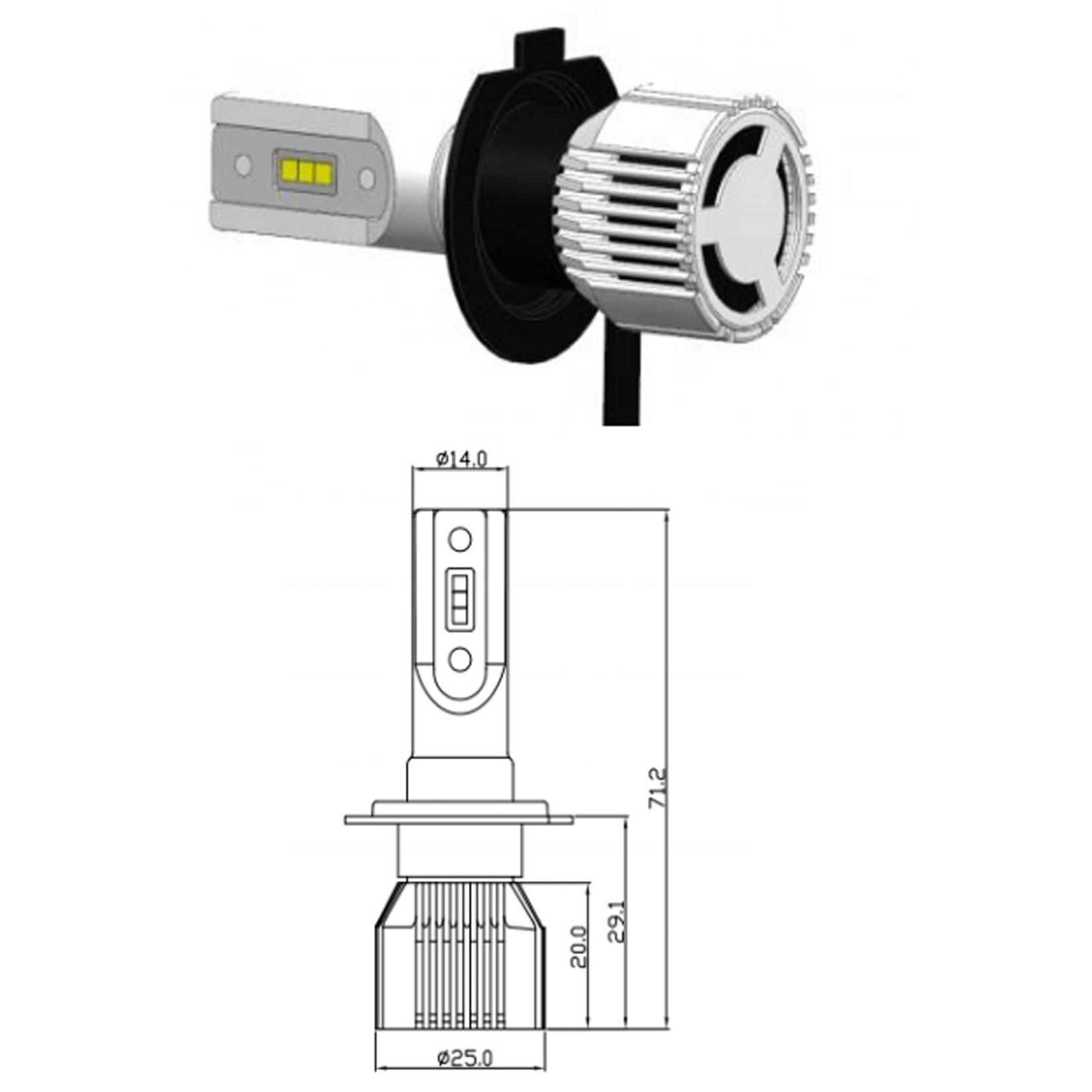 XEOD H7 LED ultra klein