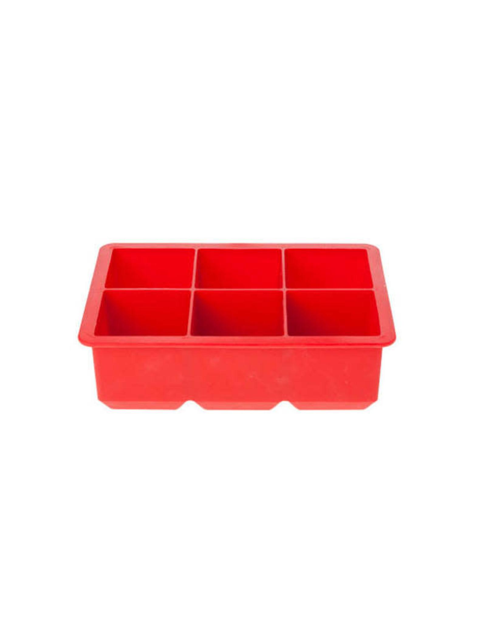 Cosy & Trendy Ijsblokjesvorm groot siliconen rood 6/st