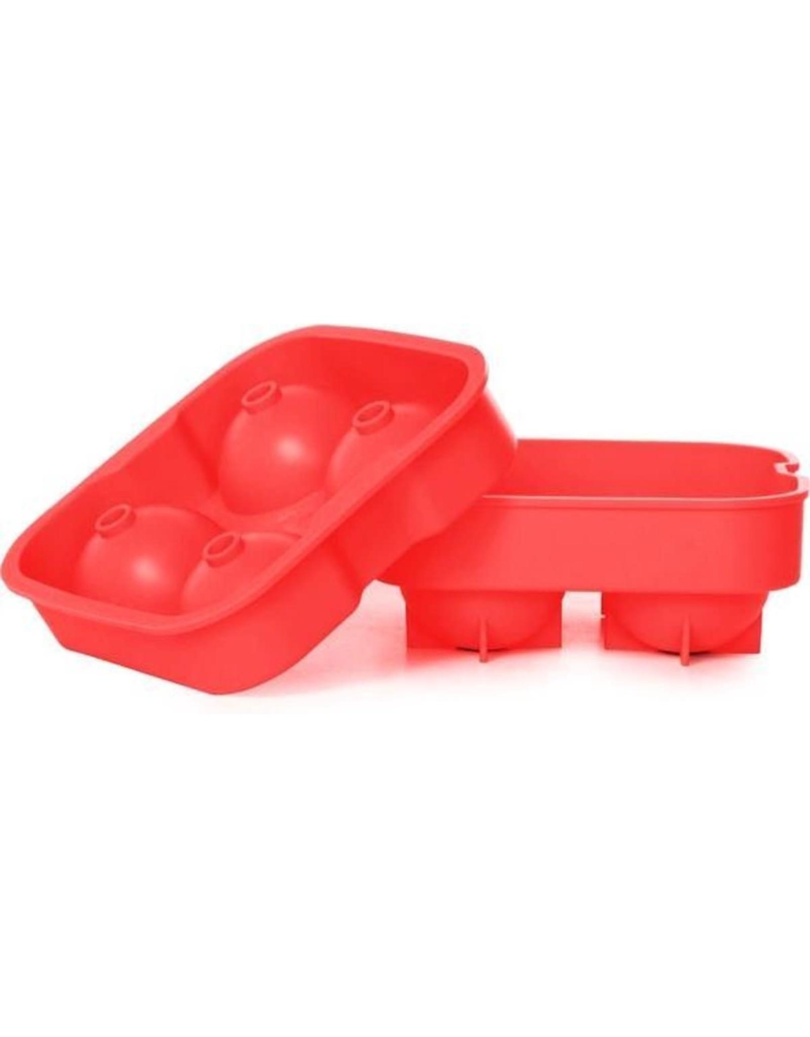 C&T Ijsblokjesvorm rond siliconen rood 4/st