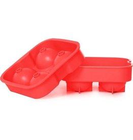 Cosy & Trendy Ijsblokjesvorm rond siliconen rood 4/st