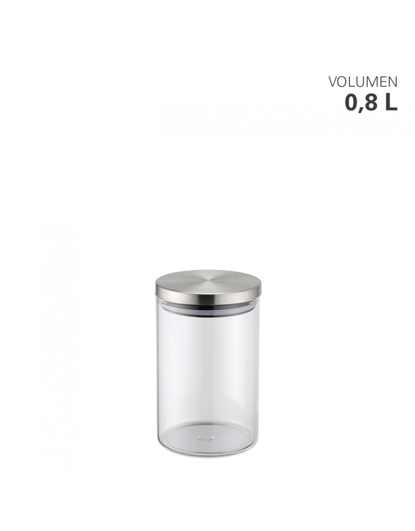 Weis Glazen voorraadpot met RVS deksel 0,8L
