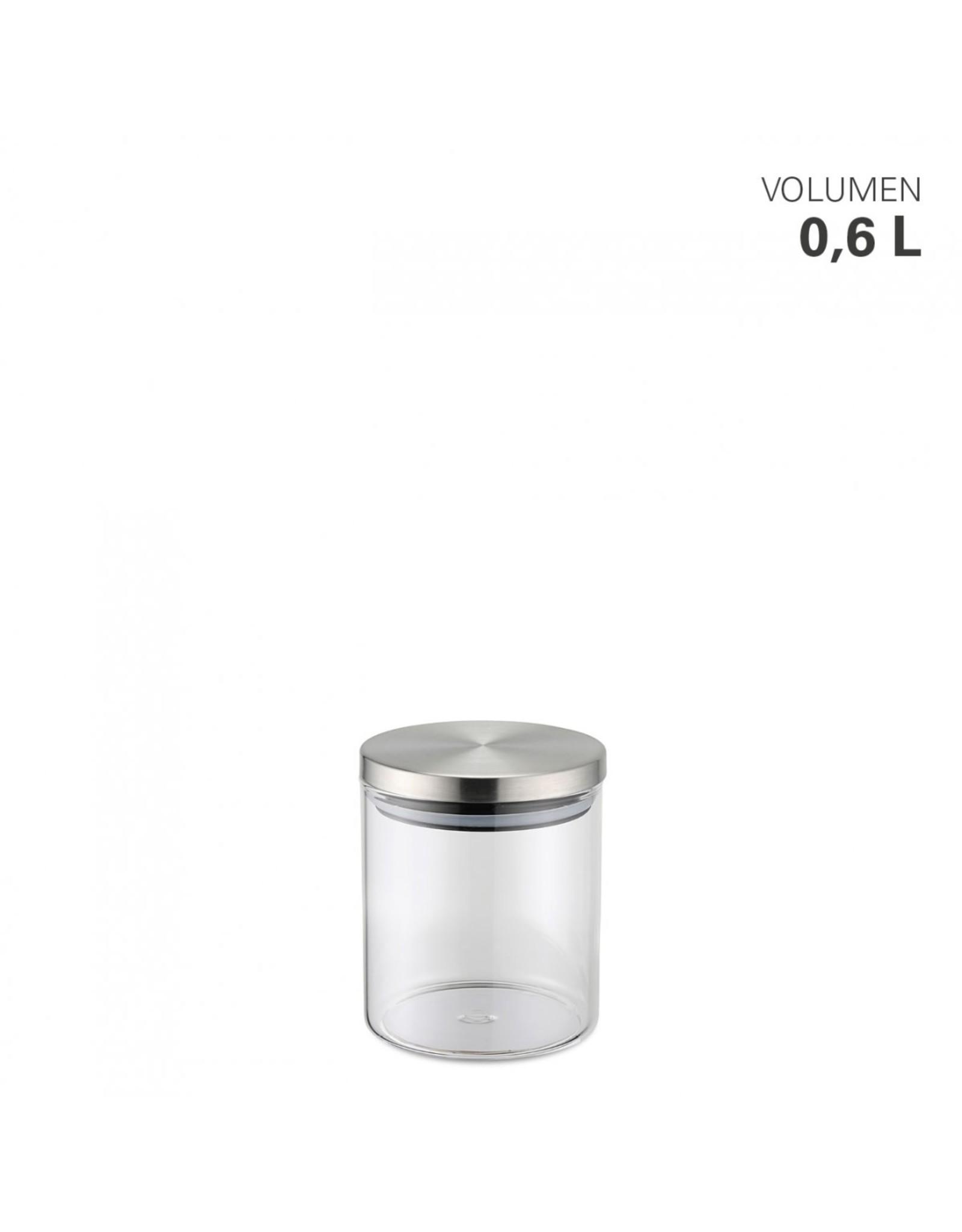 Weis Glazen voorraadpot met RVS deksel 0,6L