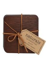 Naturals Houten onderzetters bruin, 4 stuks