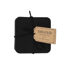 Naturals Houten onderzetters zwart, 4 stuks