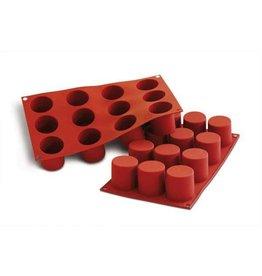Silikomart Siliconen bakmat 12 x cilinder diep 4,8cm