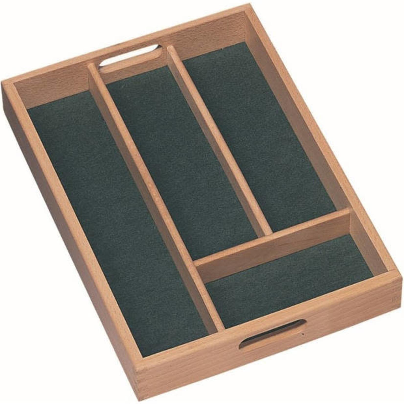 Bestekbak, hout 24x34cm 4-vaks