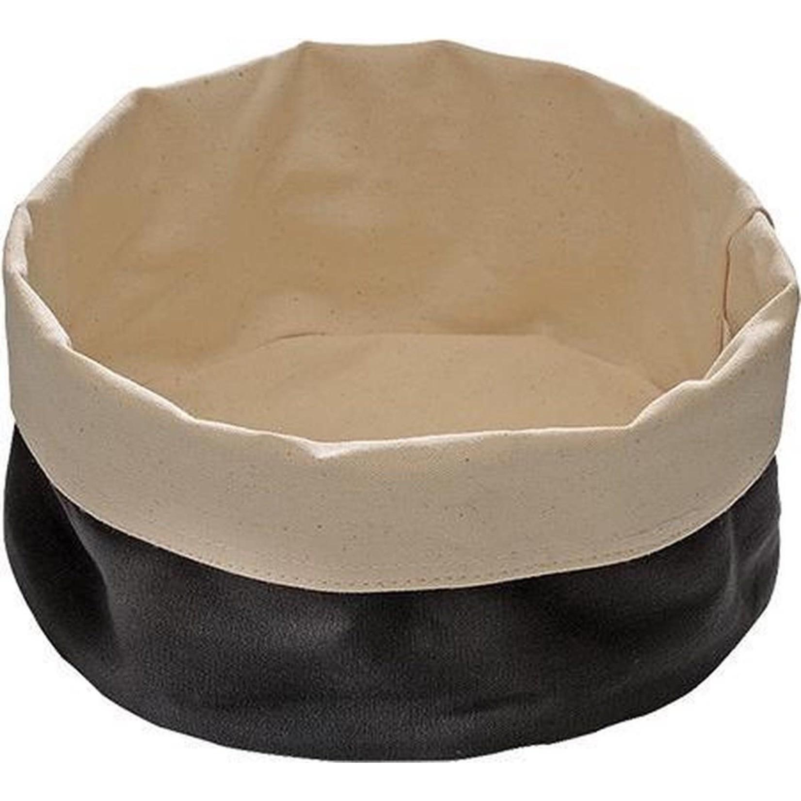 Broodmandje zwart/beige rond 20x9cm